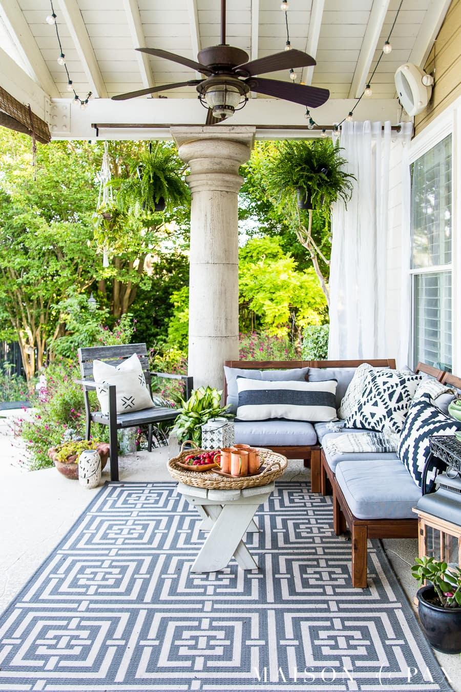 Summer Porch Decor Ideas: Ferns and Succulents - Maison de Pax on Black And White Backyard Decor  id=66919