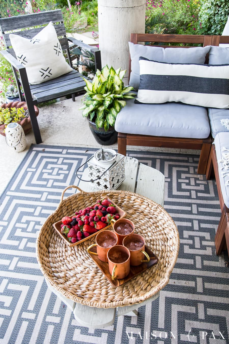 Summer Porch Decor Ideas: Ferns and Succulents - Maison de Pax on Black And White Backyard Decor  id=34487