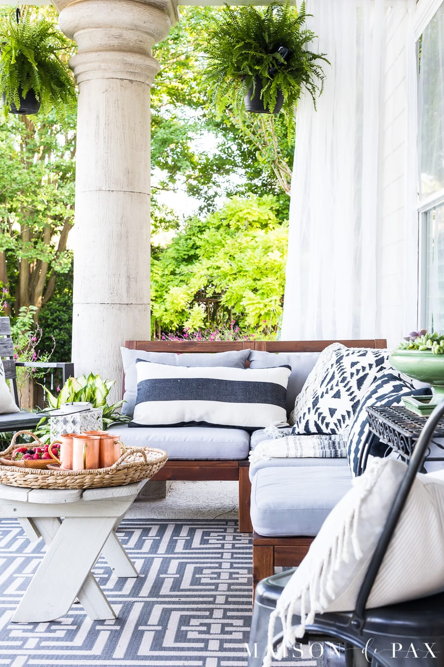 summer porch decor ideas ferns and