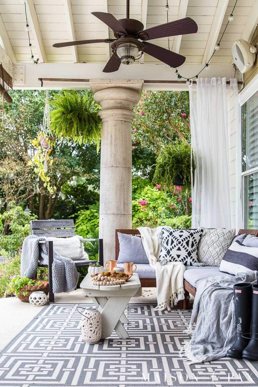 Black and White Fall Porch Decorating Ideas - Maison de Pax on White Patio Ideas id=97103