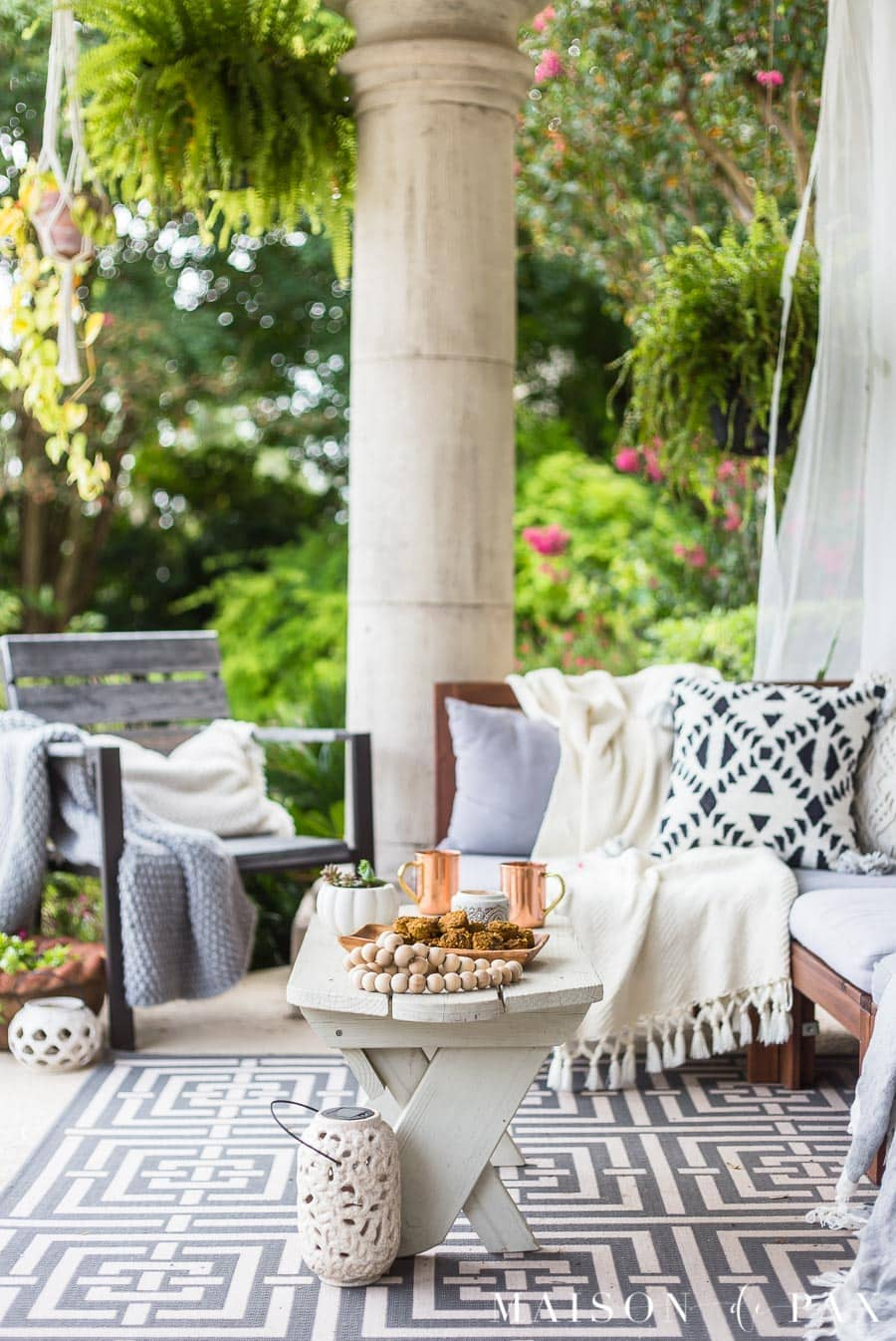Black and White Fall Porch Decorating Ideas - Maison de Pax on Black And White Backyard Decor  id=74009