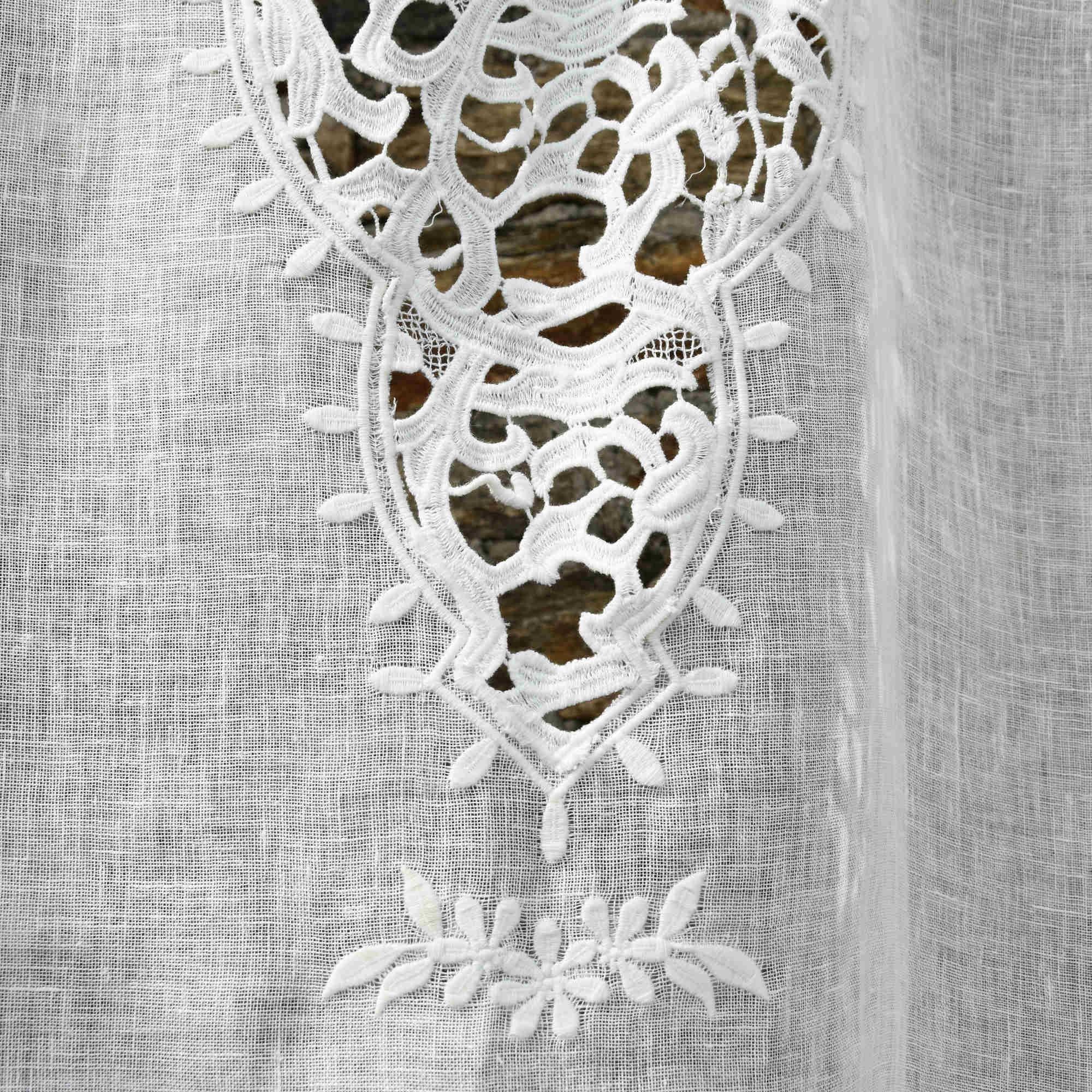 rideau paris gaze de lin blanc bords lin naturel