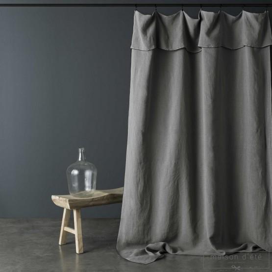 rideau en lin lave gris souris bourdon noir 160x270 cm