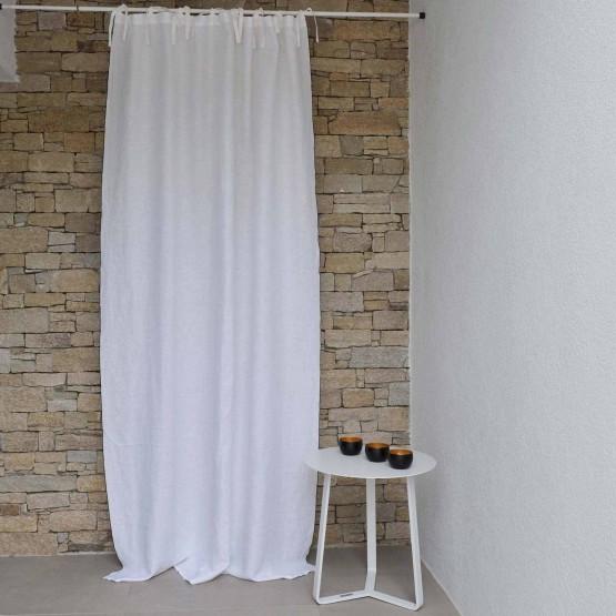 rideau lin lave blanc bourdon noir 160x270 cm