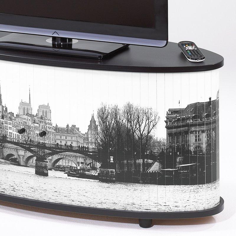 Meuble TV Classeur Rideau Decor Paris Noir Maison Et Styles