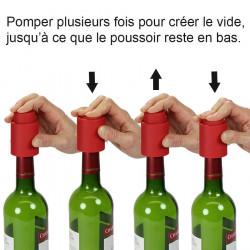 bouchon pour bouteille de vin avec pompe a vide d air