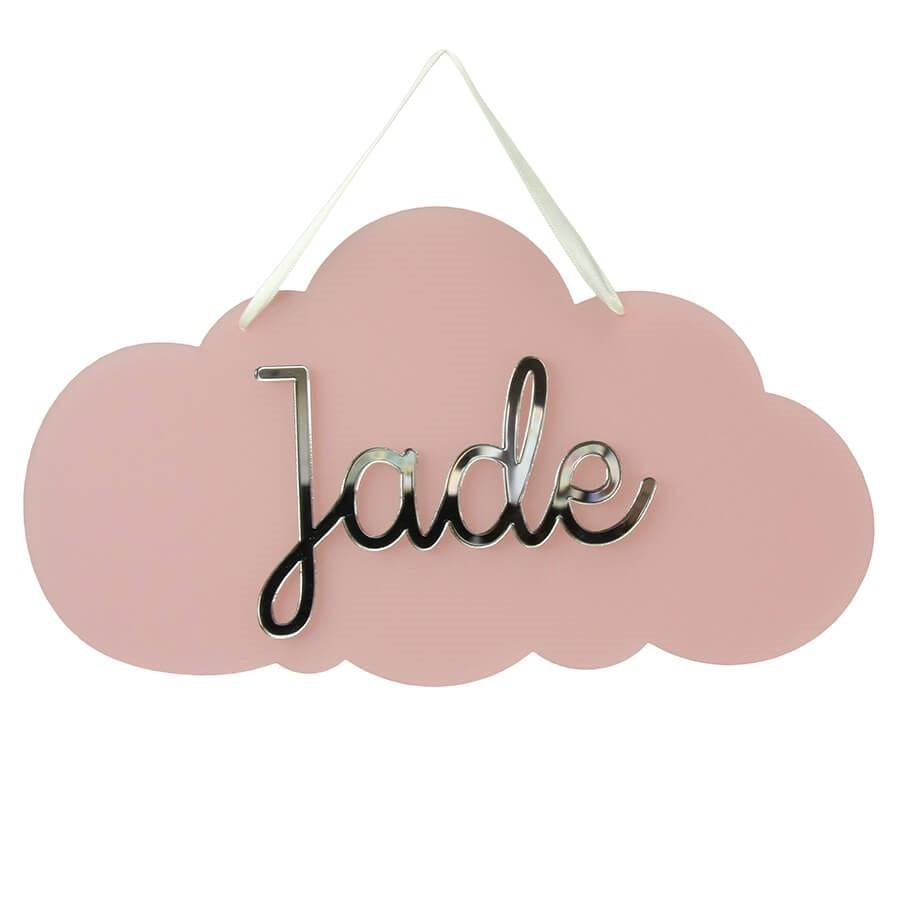 plaque de porte nuage personnalisee avec prenom