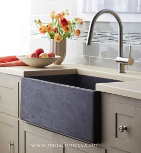 farmhouse sink, apron sink, mixed cabinets, soapstone