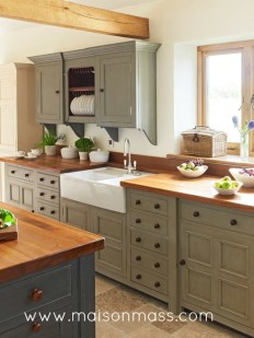 farmhouse, apron sink, kitchen, painted, mixed cabinetry