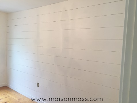 Office Makeover, painted planked wall