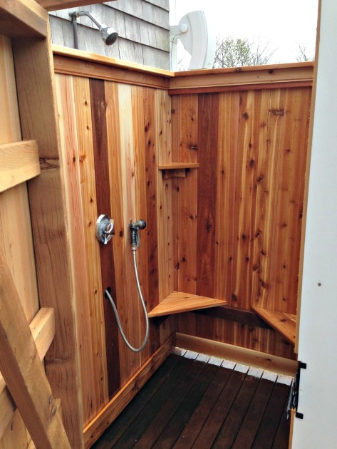 outdoor shower cedar shower kit