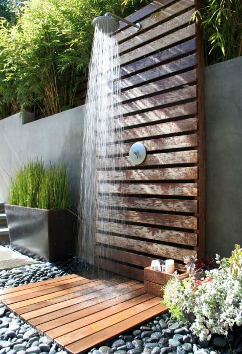 outdoor shower, drainage, stone