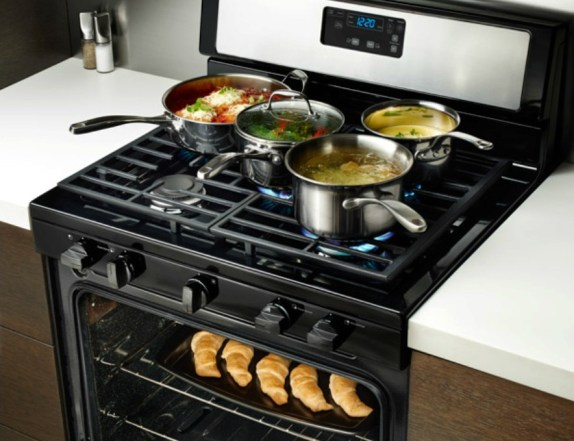 kitchen appliances, gas range