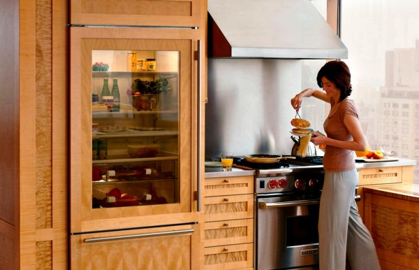 kitchen appliances; see-through panel refrigerator