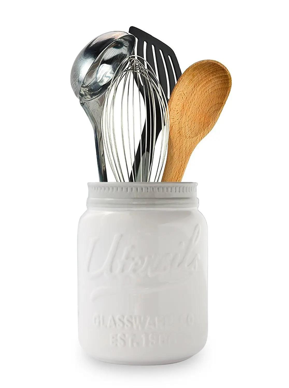 farmhouse mason jar utensil holder