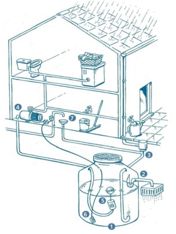 Circuit cuve à récupération d'eau de pluie