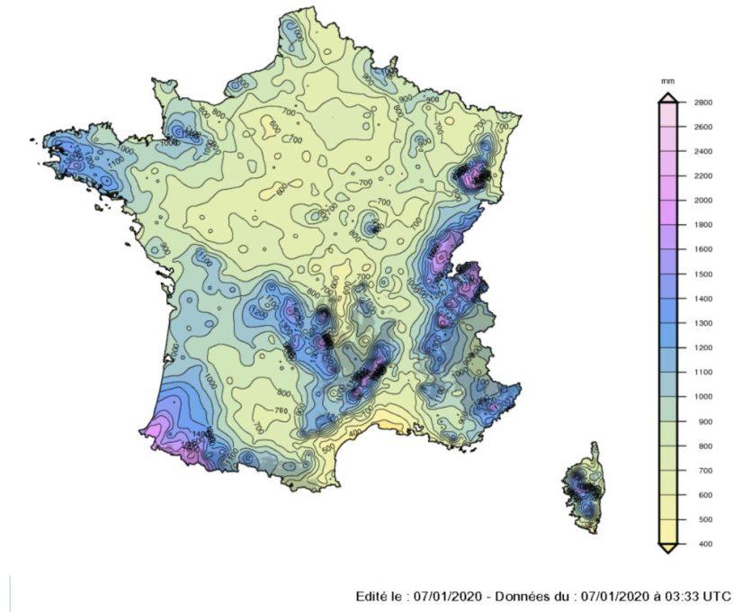 Pluviometrie France
