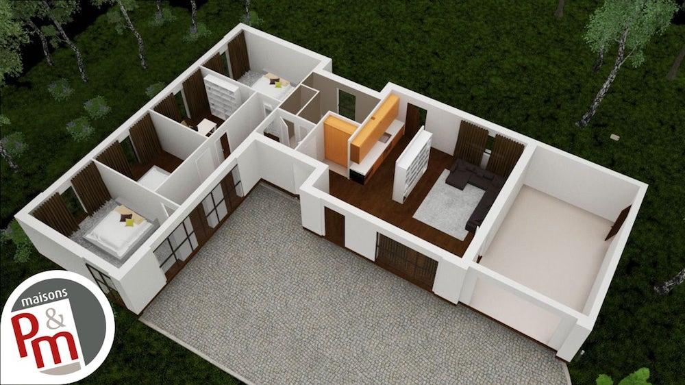 Harmonie Maison Moderne A Toit Plat Et Plan En L