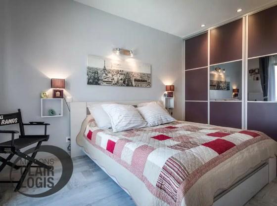 Chambre moderne avec placard intégré