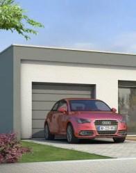 Maison à toit plat avec garage intégré
