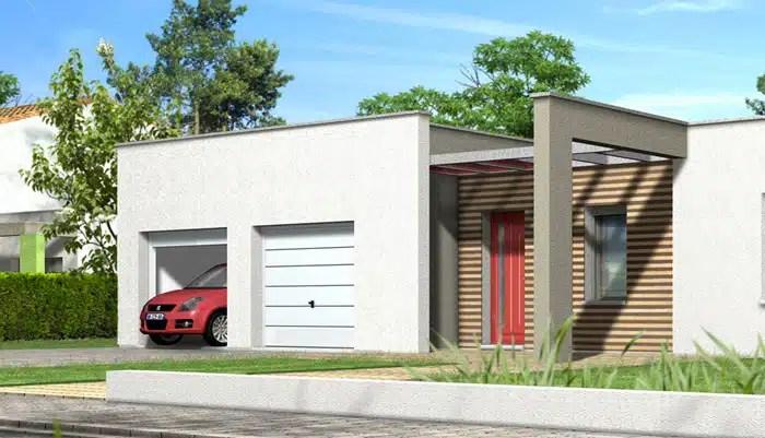 Plan maison contemporaine - maison toit plat