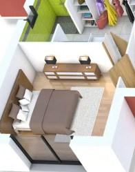 Plan maison 3D - zoom suite parentale