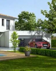 Garage toit plat - maison contemporaine Turquoise