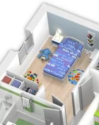 Maison en L avec placard intégré