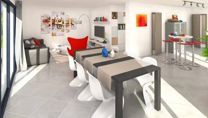 Maison moderne Semnoz - vue 3D salon-séjour
