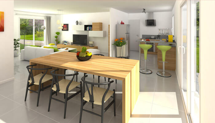 Vue 3D - maison plain pied Amaryllis