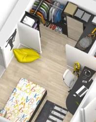 Chambre avec dressing - plan maison 3D