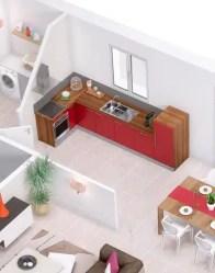 Plan maison 3D gratuit - vue cuisine