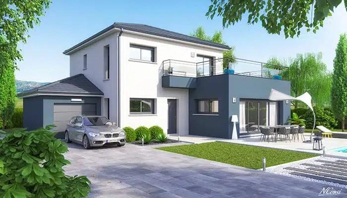 Maison moderne Villa - enduit bleu gris