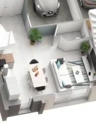Plan 3D maison double Influance - Espace de vie