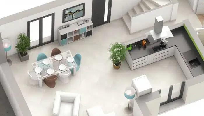 plan maison 3D - maison contemporaine Opaline