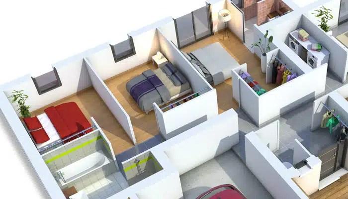 Plan maison 3D - maison contemporaine Améthyste