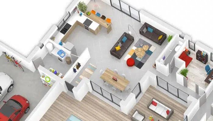 Plan maison contemporaine Olivine - plan maison 3D