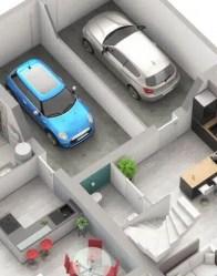 Plan maison double logement - garage indépendant