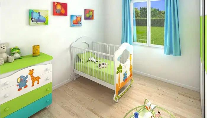 vue 3D chambre enfant - maison plain pied