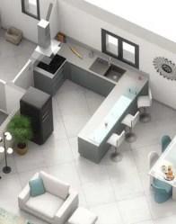 plan maison 3D : cuisine ouverte - modèle Pivoine