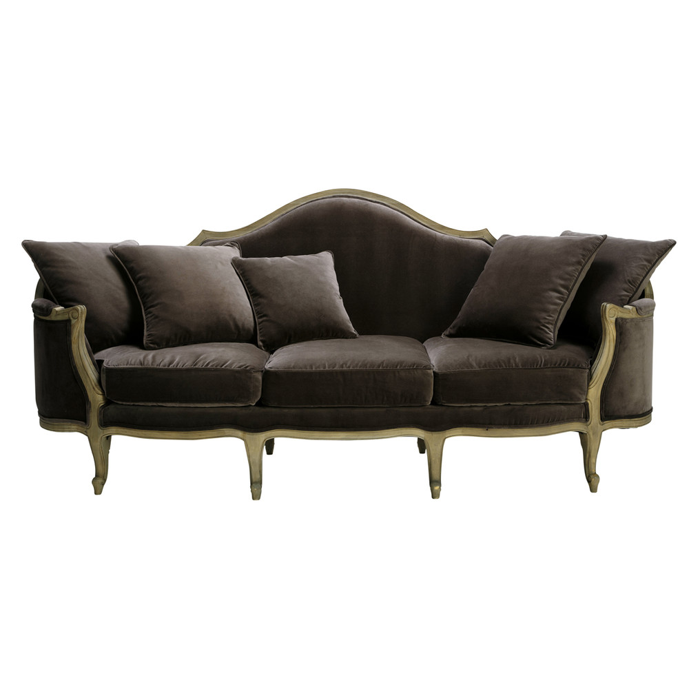3 Seater Velvet Sofa Bench In Charcoal Grey Clarisse