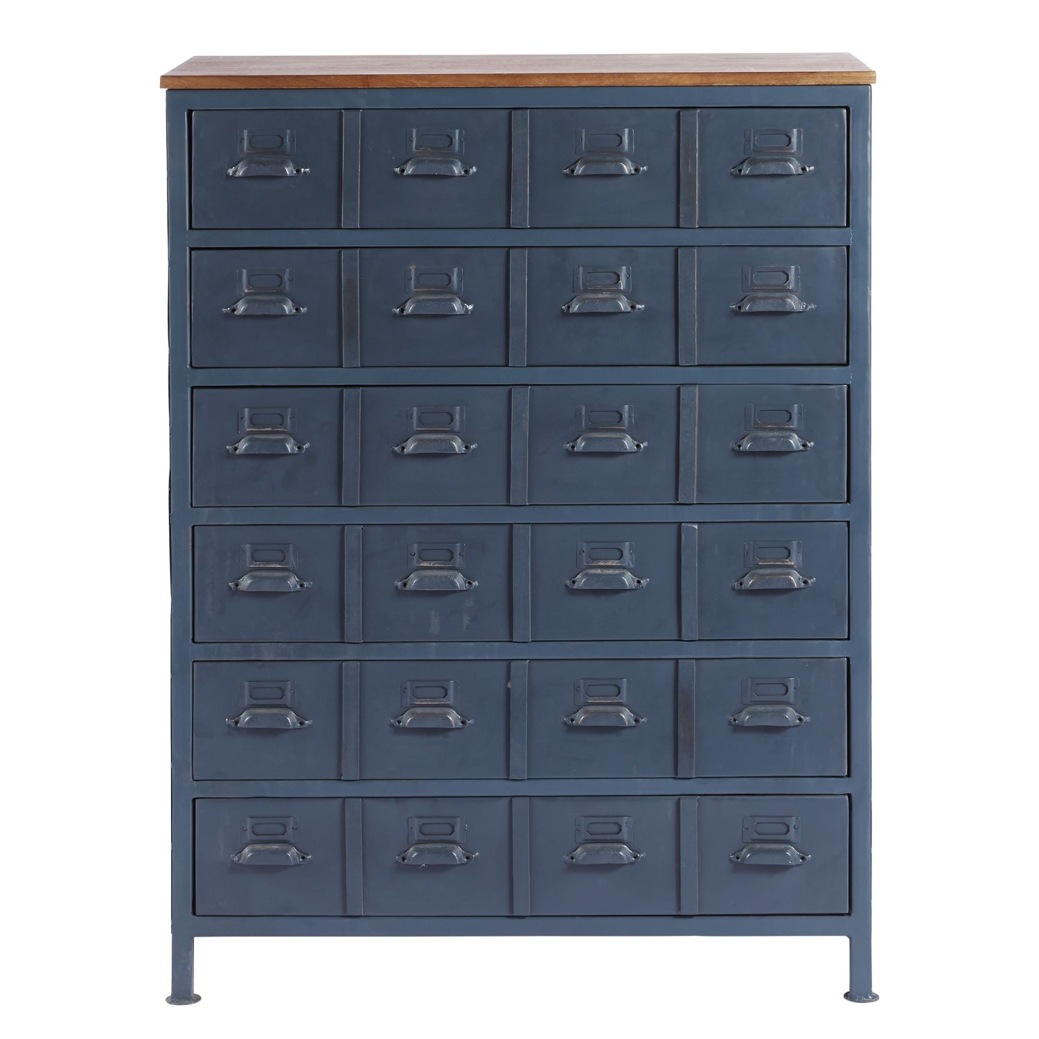blue metal and mango wood industrial 6 drawer cabinet lenny