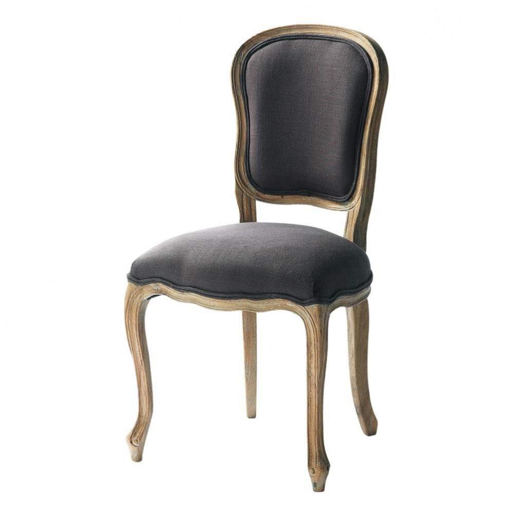 Chaise En Lin Taupe Gris Versailles Maisons Du Monde