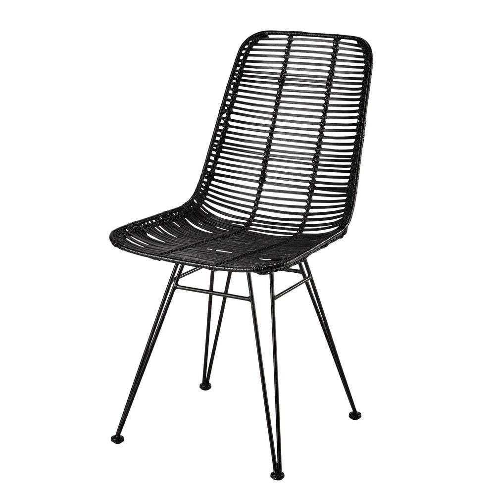 Chaise En Rotin Et Mtal Noire Pitaya Maisons Du Monde