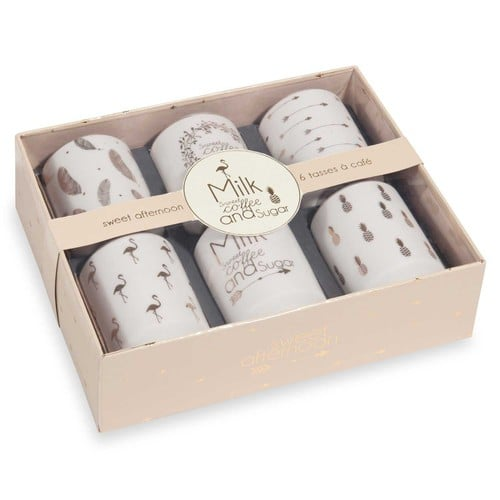 Coffret 6 tasses en porcelaine SWEET AFTERNOON