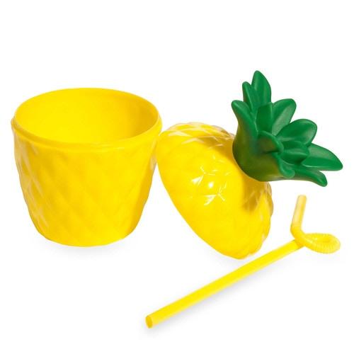 Gobelet et paille en plastique jaune ANANAS