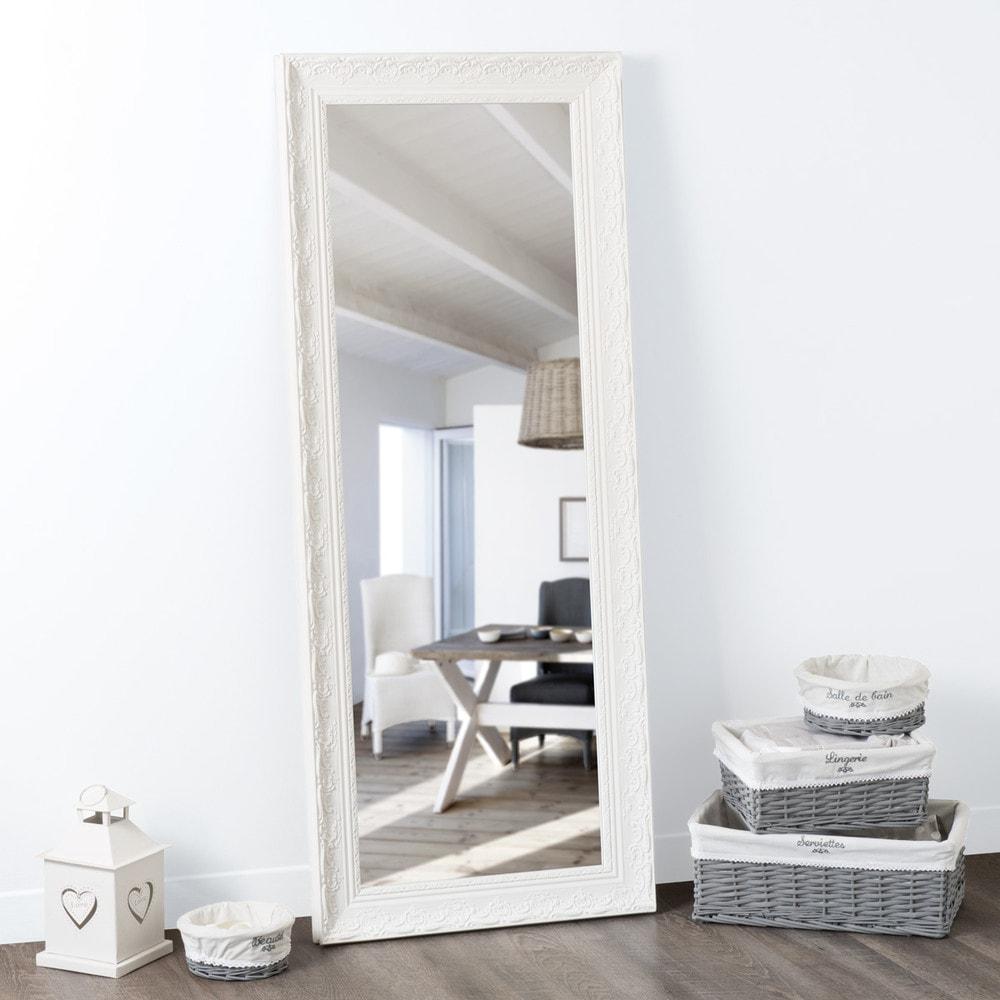 Miroir En Paulownia Blanc H 145 Cm VALENTINE Maisons Du