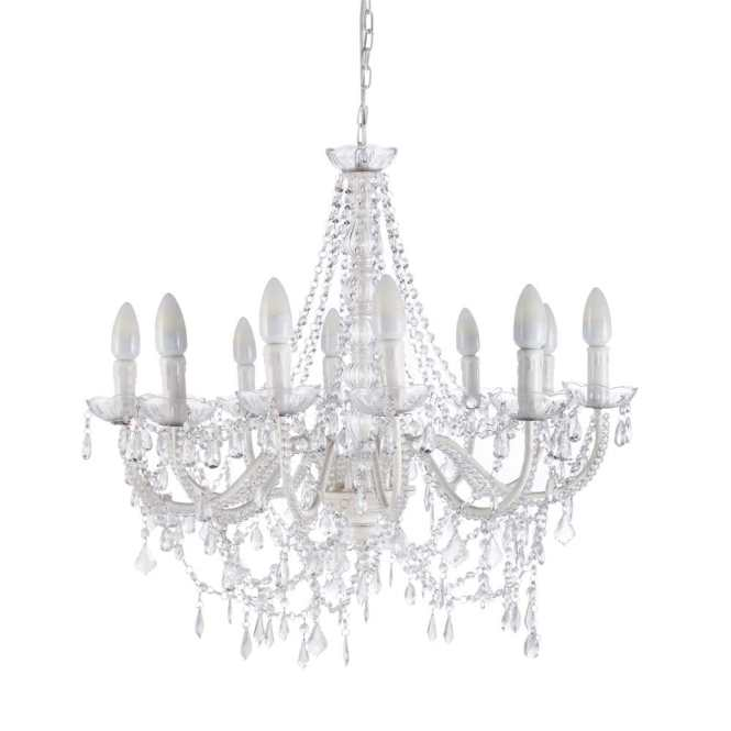 Pampilles Metal 12 Branch Chandelier In White D 75cm