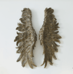 Angel wings distressed gold finish