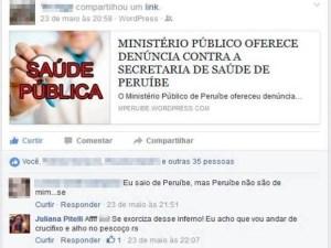 Postagem em rede social causou revolta em Peruíbe, SP (Foto: Reprodução/Facebook)